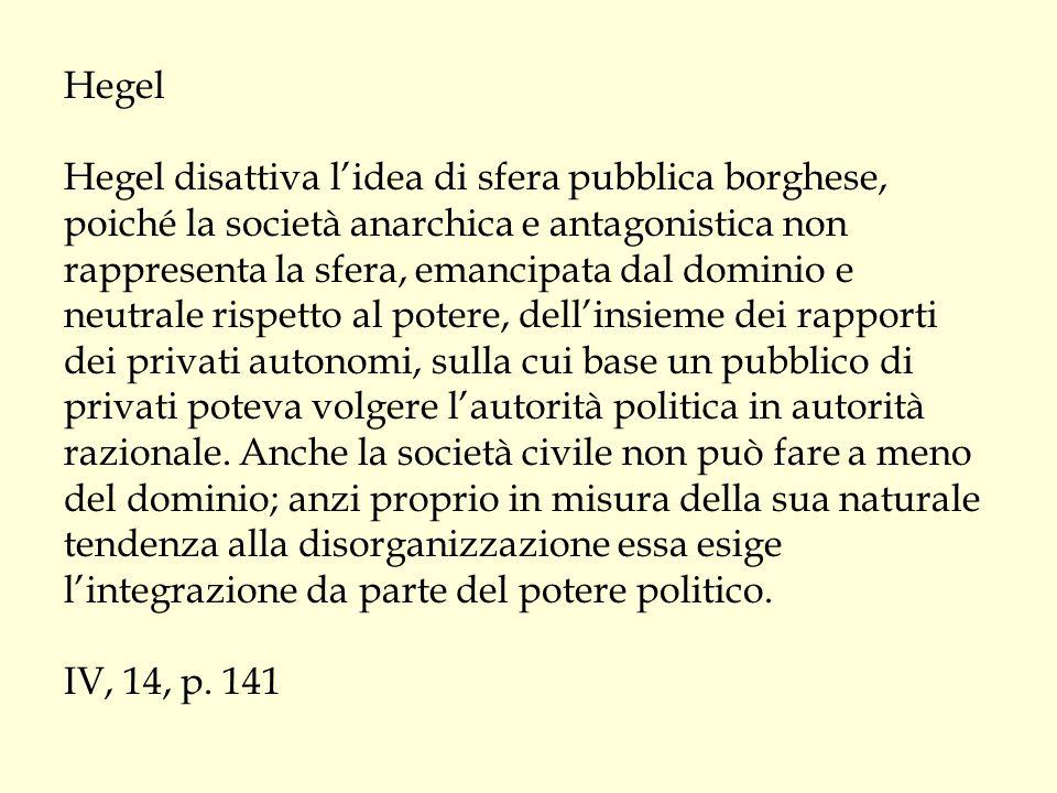 Hegel Hegel disattiva l'idea di sfera pubblica borghese, poiché la società anarchica e antagonistica non rappresenta la sfera, emancipata dal dominio