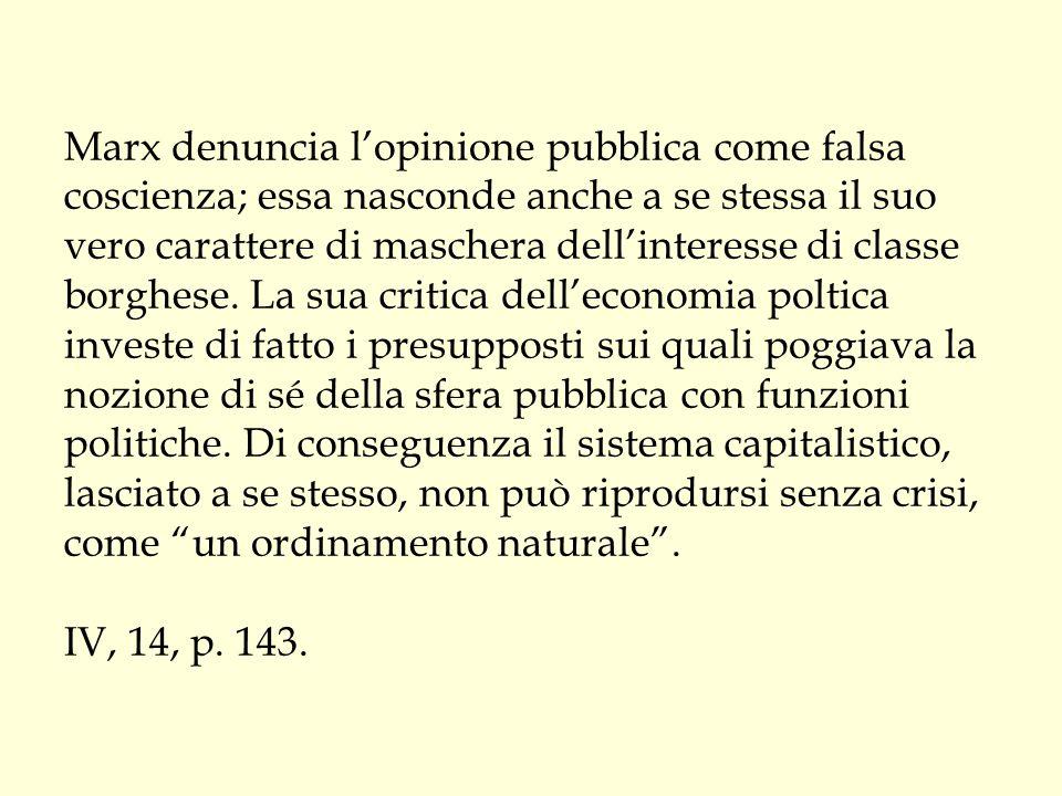 Marx denuncia l'opinione pubblica come falsa coscienza; essa nasconde anche a se stessa il suo vero carattere di maschera dell'interesse di classe bor