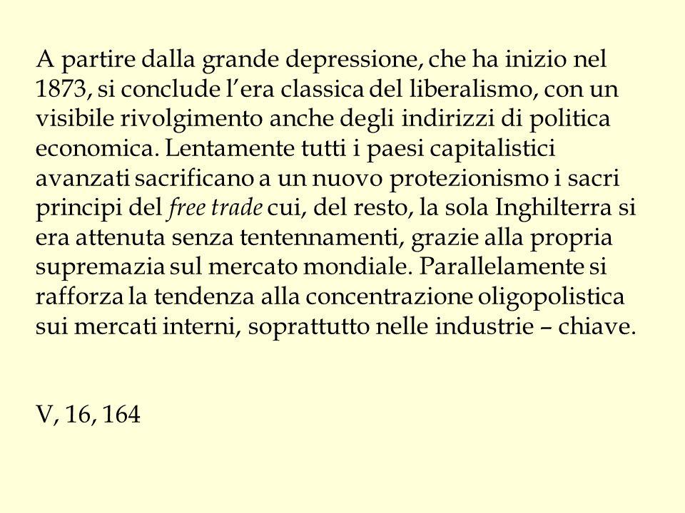 A partire dalla grande depressione, che ha inizio nel 1873, si conclude l'era classica del liberalismo, con un visibile rivolgimento anche degli indir