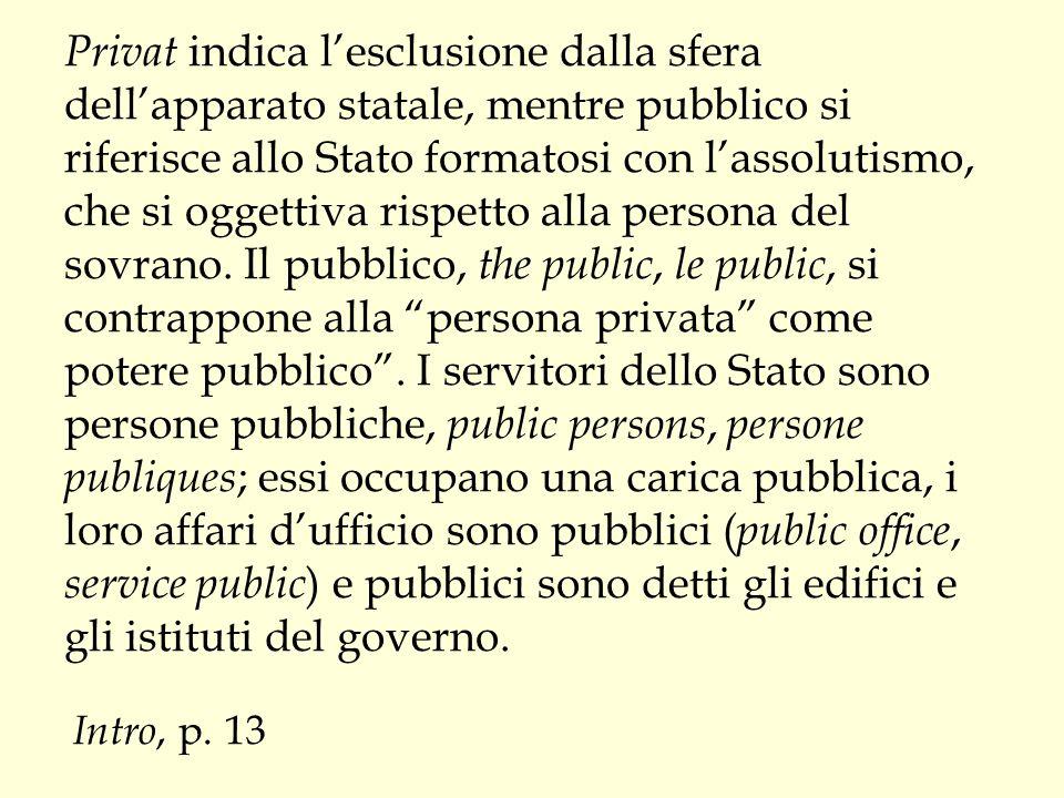 Privat indica l'esclusione dalla sfera dell'apparato statale, mentre pubblico si riferisce allo Stato formatosi con l'assolutismo, che si oggettiva ri
