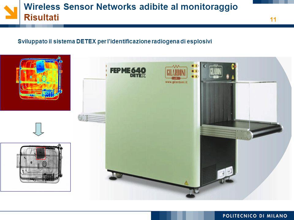 11 Wireless Sensor Networks adibite al monitoraggio Risultati Sviluppato il sistema DETEX per l'identificazione radiogena di esplosivi