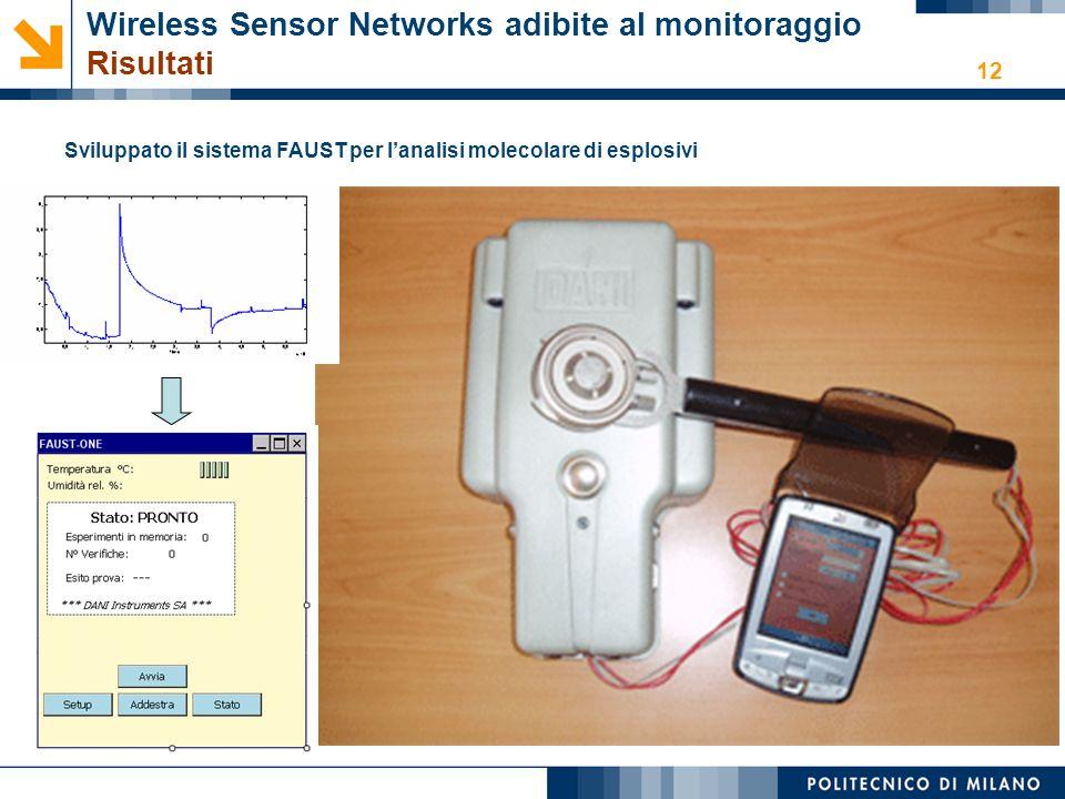 12 Wireless Sensor Networks adibite al monitoraggio Risultati Sviluppato il sistema FAUST per l'analisi molecolare di esplosivi