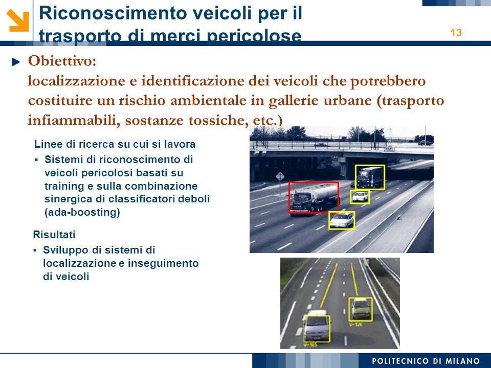 13 Riconoscimento veicoli per il trasporto di merci pericolose Obiettivo: localizzazione e identificazione dei veicoli che potrebbero costituire un ri