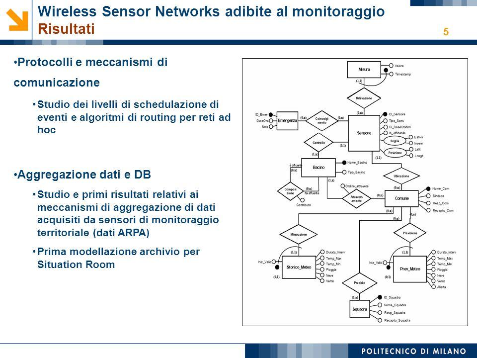 5 Protocolli e meccanismi di comunicazione Studio dei livelli di schedulazione di eventi e algoritmi di routing per reti ad hoc Aggregazione dati e DB