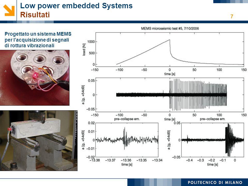 7 Low power embedded Systems Risultati Progettato un sistema MEMS per l'acquisizione di segnali di rottura vibrazionali