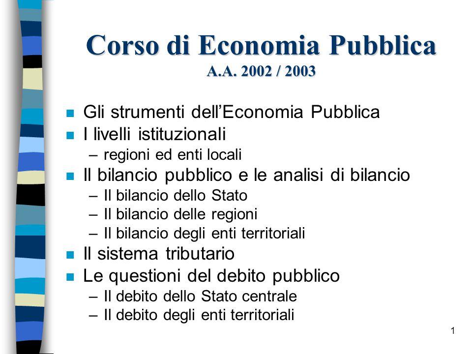 2 Gli strumenti dell'economia pubblica n Il ruolo del settore pubblico viene individuato nel desiderio di garantire: –l'efficienza nella allocazione delle risorse –una socialmente approvata distribuzione della ricchezza e del reddito –la stabilità del reddito –lo sviluppo del reddito
