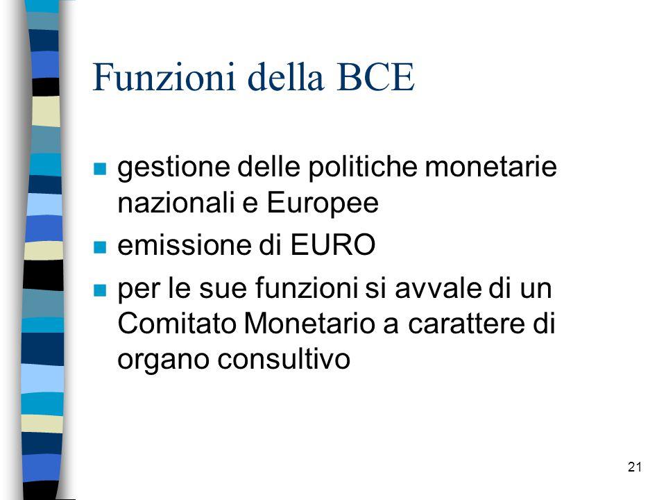 21 Funzioni della BCE n gestione delle politiche monetarie nazionali e Europee n emissione di EURO n per le sue funzioni si avvale di un Comitato Monetario a carattere di organo consultivo