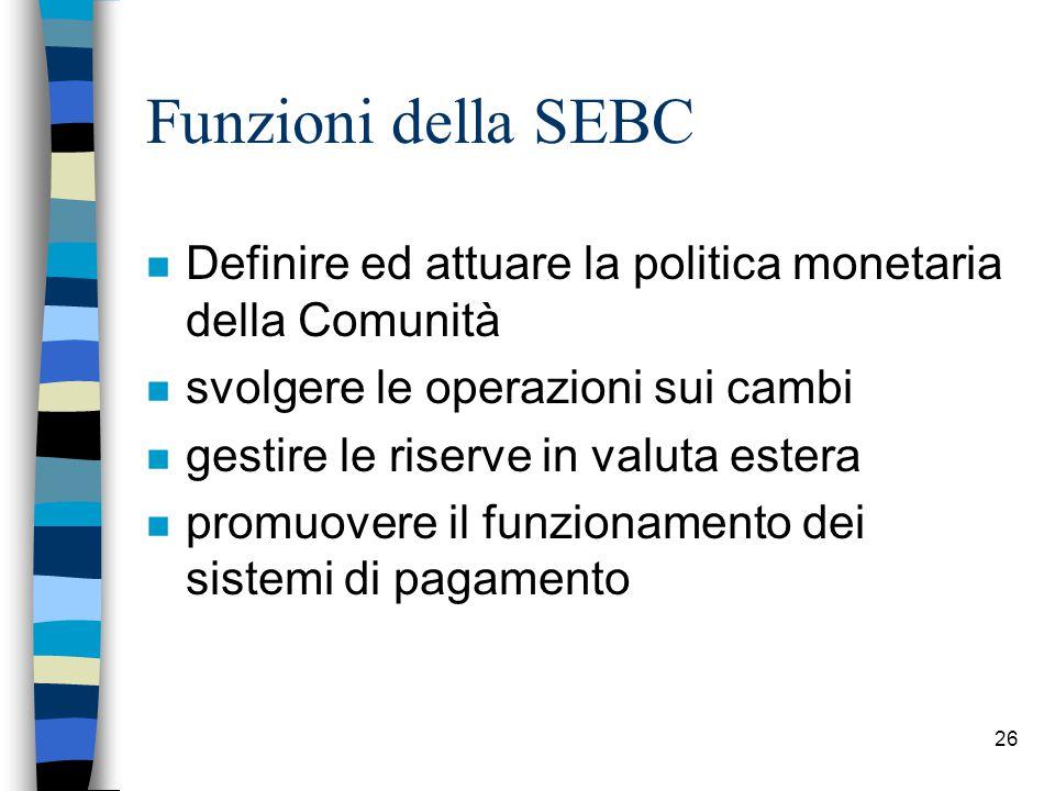 26 Funzioni della SEBC n Definire ed attuare la politica monetaria della Comunità n svolgere le operazioni sui cambi n gestire le riserve in valuta estera n promuovere il funzionamento dei sistemi di pagamento