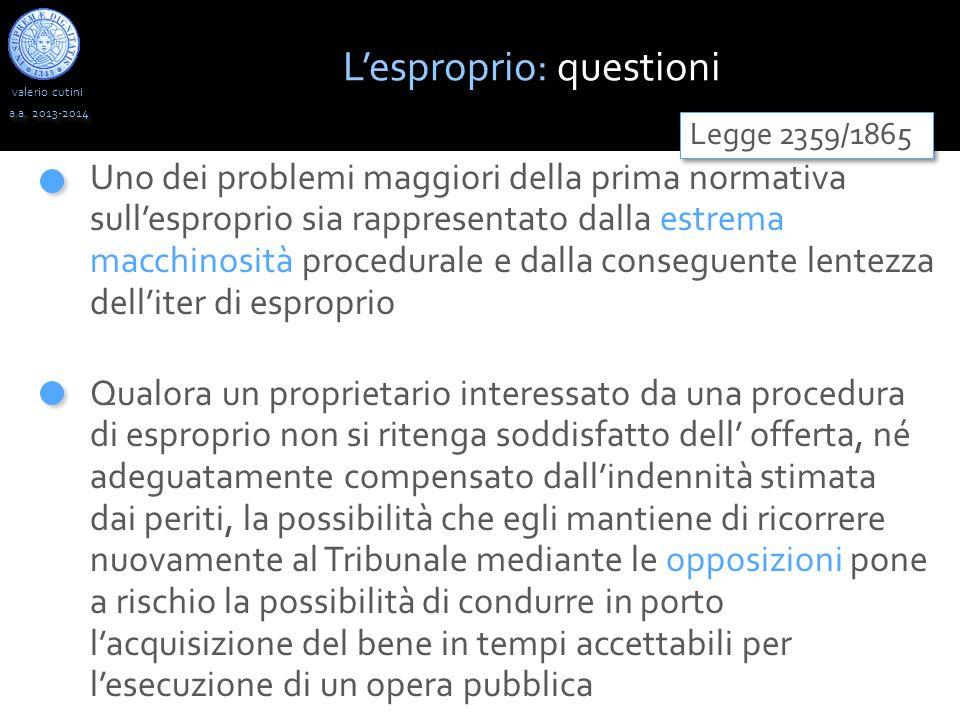 valerio cutini a.a. 2013-2014 Uno dei problemi maggiori della prima normativa sull'esproprio sia rappresentato dalla estrema macchinosità procedurale