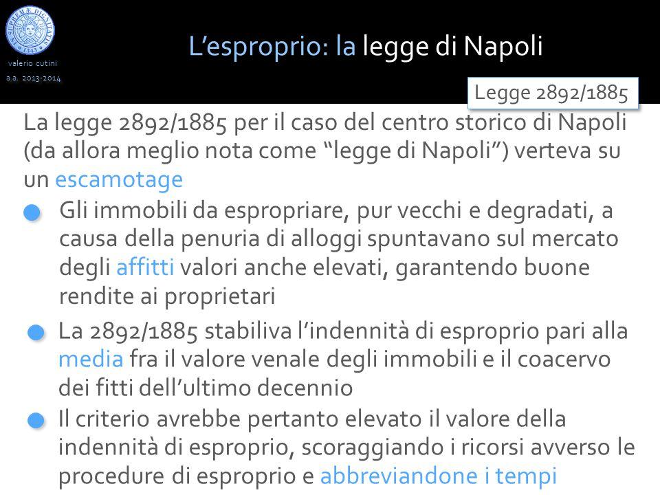 """valerio cutini a.a. 2013-2014 La legge 2892/1885 per il caso del centro storico di Napoli (da allora meglio nota come """"legge di Napoli"""") verteva su un"""