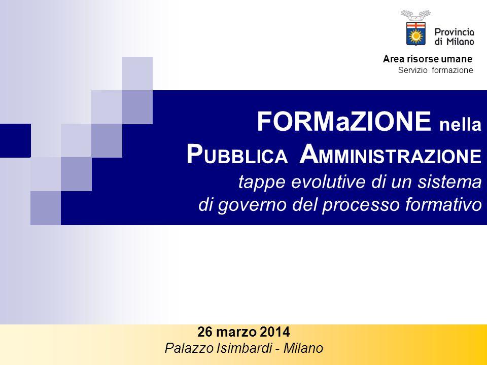 FORMaZIONE nella P UBBLICA A MMINISTRAZIONE tappe evolutive di un sistema di governo del processo formativo 26 marzo 2014 Palazzo Isimbardi - Milano A