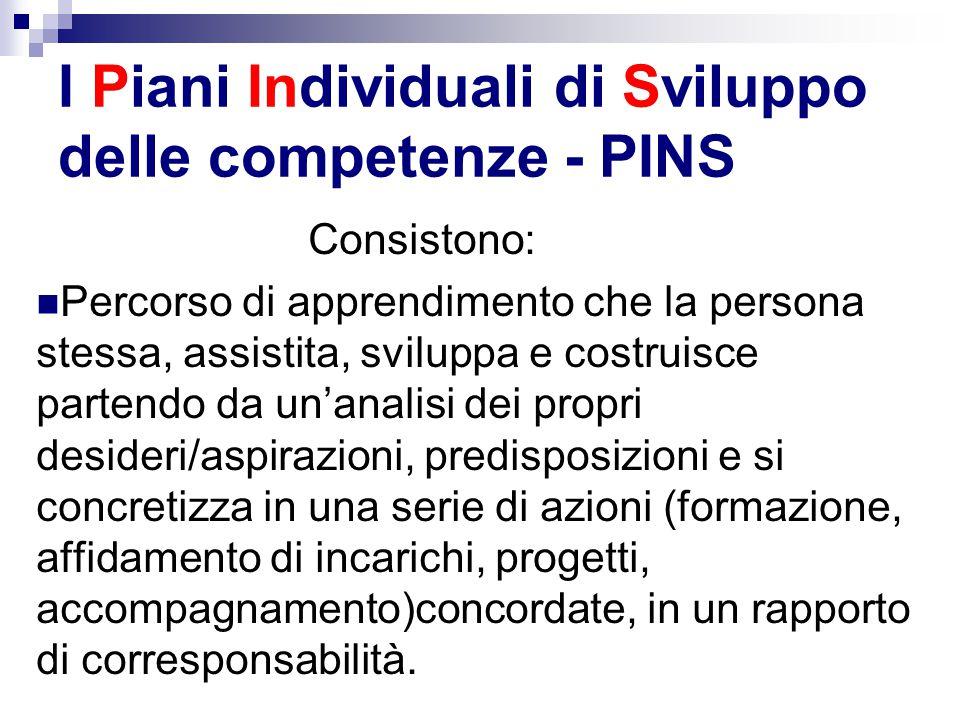 I Piani Individuali di Sviluppo delle competenze - PINS Consistono: Percorso di apprendimento che la persona stessa, assistita, sviluppa e costruisce