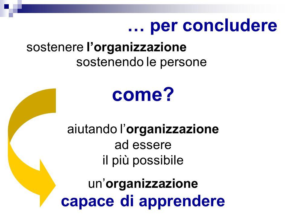 … per concludere come? aiutando l'organizzazione ad essere il più possibile un'organizzazione capace di apprendere sostenere l'organizzazione sostenen