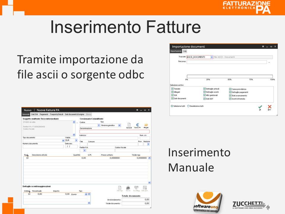 Inserimento Fatture Tramite importazione da file ascii o sorgente odbc Inserimento Manuale