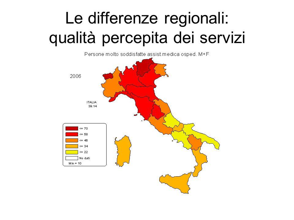 Le differenze regionali: qualità percepita dei servizi