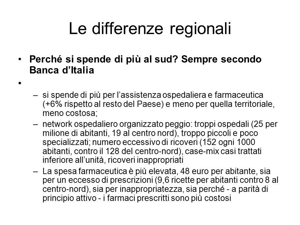 Le differenze regionali Perché si spende di più al sud? Sempre secondo Banca d'Italia –si spende di più per l'assistenza ospedaliera e farmaceutica (+
