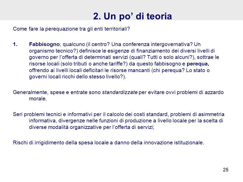 2. Un po' di teoria Come fare la perequazione tra gli enti territoriali.