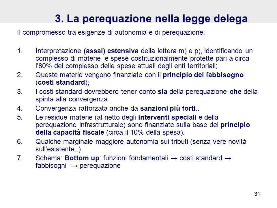 3. La perequazione nella legge delega Il compromesso tra esigenze di autonomia e di perequazione: 1.Interpretazione (assai) estensiva della lettera m)