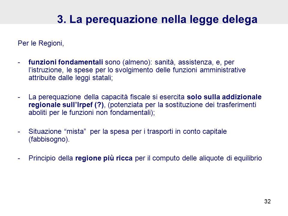 3. La perequazione nella legge delega Per le Regioni, -funzioni fondamentali sono (almeno): sanità, assistenza, e, per l'istruzione, le spese per lo s