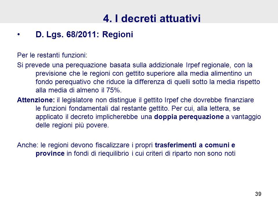 4. I decreti attuativi D. Lgs.