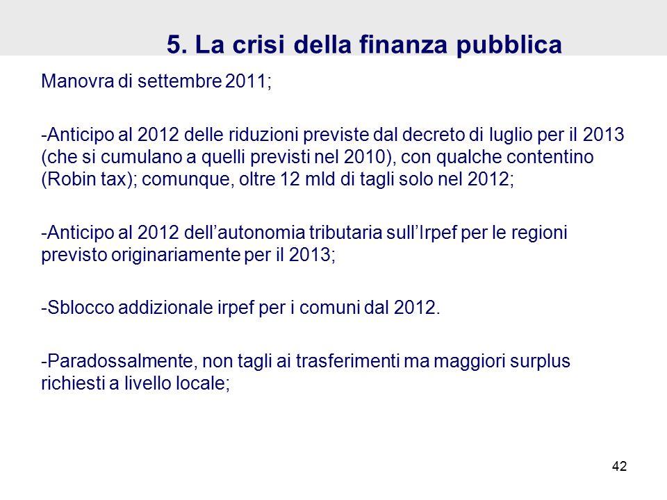 5. La crisi della finanza pubblica Manovra di settembre 2011; -Anticipo al 2012 delle riduzioni previste dal decreto di luglio per il 2013 (che si cum