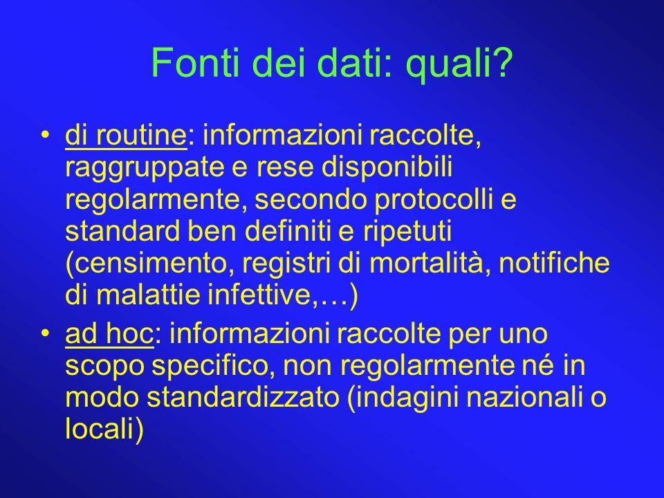 Fonti dei dati: quali? di routine: informazioni raccolte, raggruppate e rese disponibili regolarmente, secondo protocolli e standard ben definiti e ri