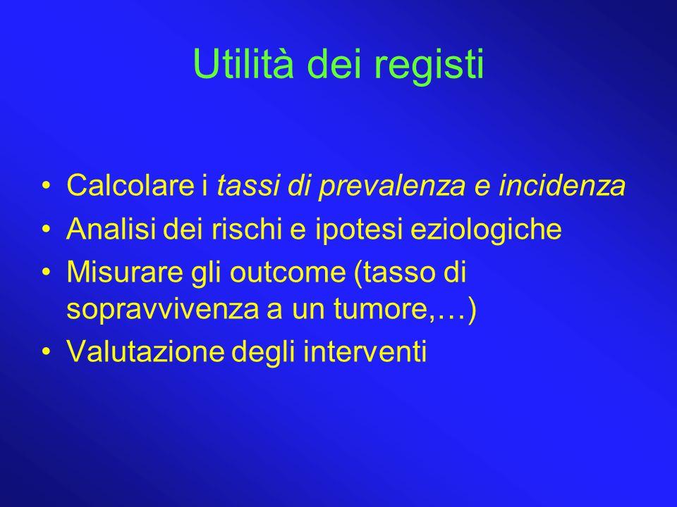 Utilità dei registi Calcolare i tassi di prevalenza e incidenza Analisi dei rischi e ipotesi eziologiche Misurare gli outcome (tasso di sopravvivenza a un tumore,…) Valutazione degli interventi