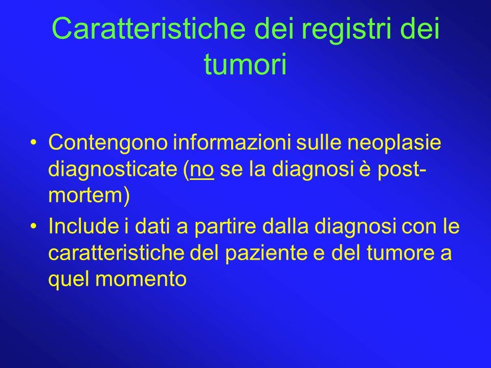 Caratteristiche dei registri dei tumori Contengono informazioni sulle neoplasie diagnosticate (no se la diagnosi è post- mortem) Include i dati a partire dalla diagnosi con le caratteristiche del paziente e del tumore a quel momento