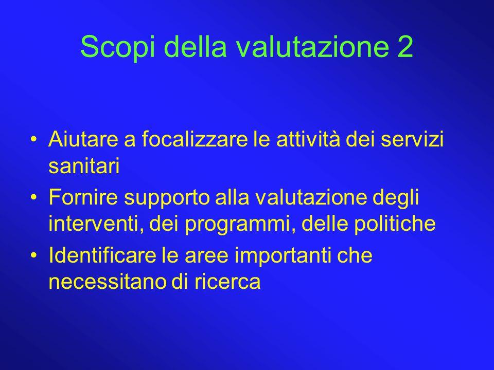 Scopi della valutazione 2 Aiutare a focalizzare le attività dei servizi sanitari Fornire supporto alla valutazione degli interventi, dei programmi, de