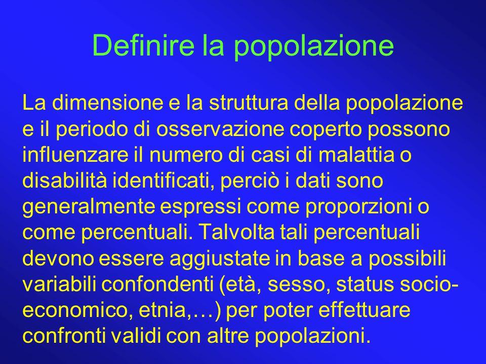 Definire la popolazione La dimensione e la struttura della popolazione e il periodo di osservazione coperto possono influenzare il numero di casi di m