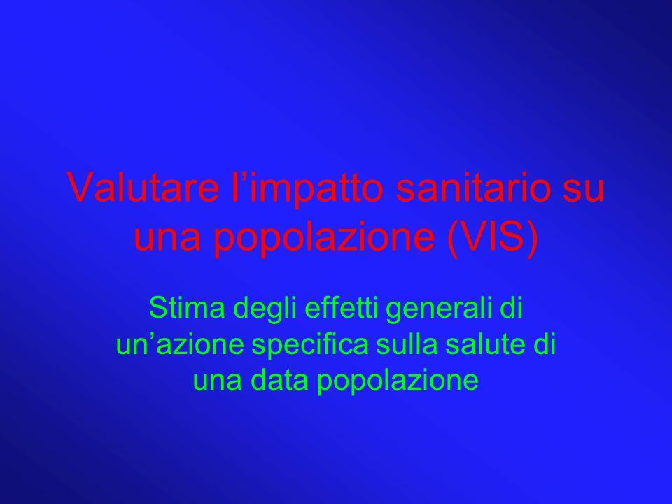 Valutare l'impatto sanitario su una popolazione (VIS) Stima degli effetti generali di un'azione specifica sulla salute di una data popolazione