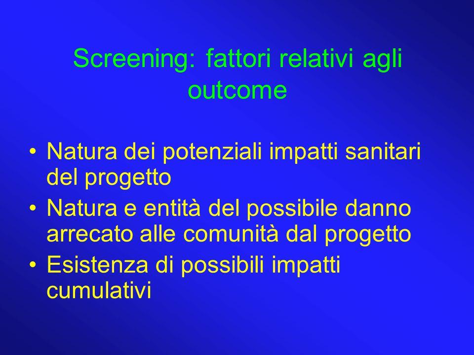Screening: fattori relativi agli outcome Natura dei potenziali impatti sanitari del progetto Natura e entità del possibile danno arrecato alle comunit