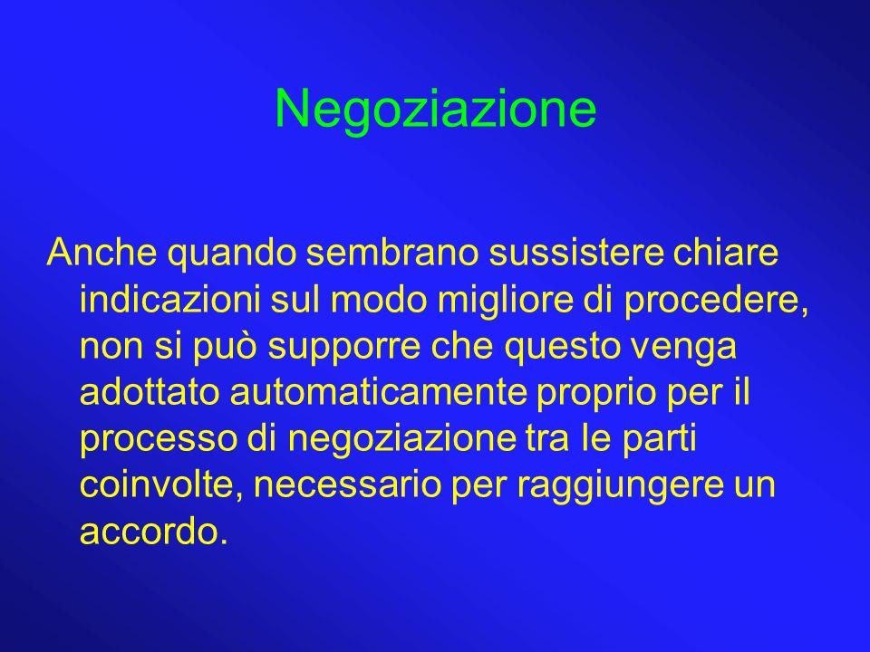 Negoziazione Anche quando sembrano sussistere chiare indicazioni sul modo migliore di procedere, non si può supporre che questo venga adottato automaticamente proprio per il processo di negoziazione tra le parti coinvolte, necessario per raggiungere un accordo.