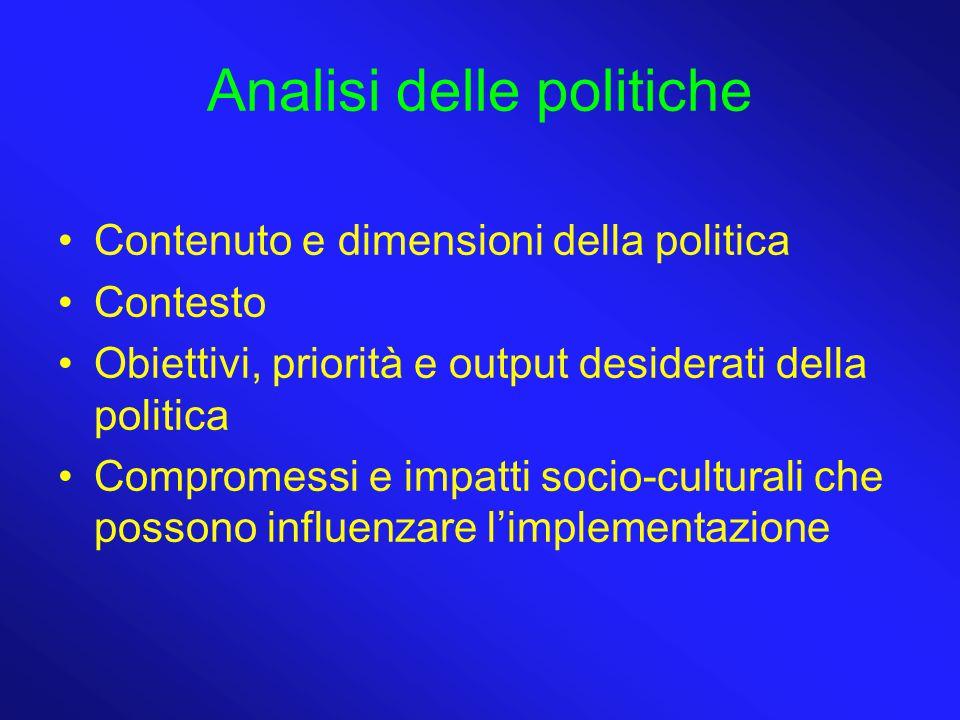 Analisi delle politiche Contenuto e dimensioni della politica Contesto Obiettivi, priorità e output desiderati della politica Compromessi e impatti socio-culturali che possono influenzare l'implementazione