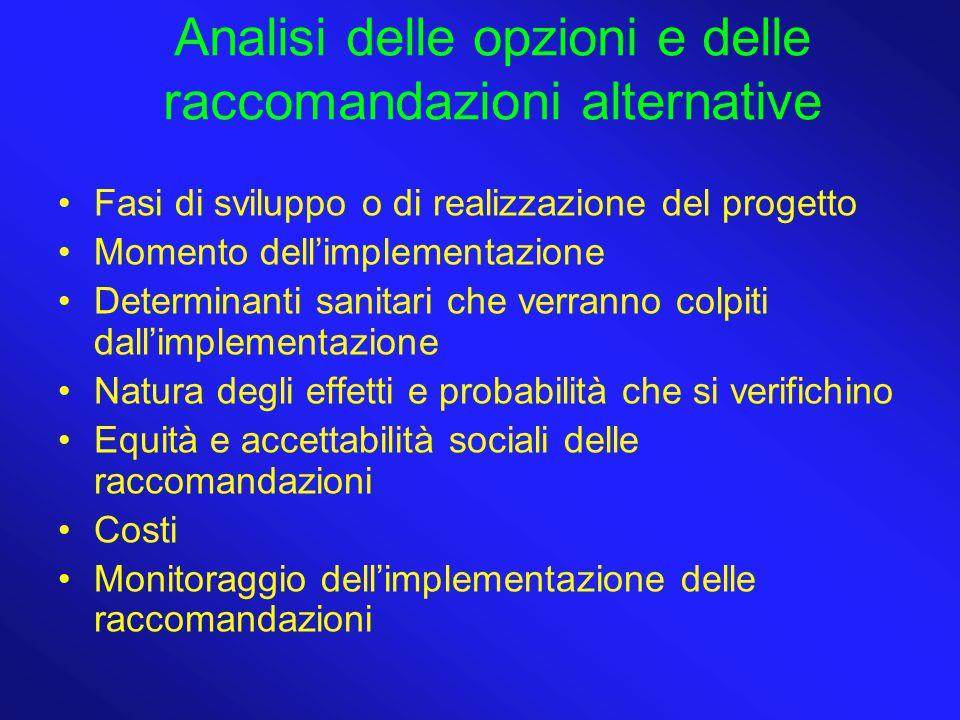 Analisi delle opzioni e delle raccomandazioni alternative Fasi di sviluppo o di realizzazione del progetto Momento dell'implementazione Determinanti s
