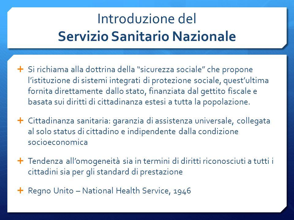 """Introduzione del Servizio Sanitario Nazionale  Si richiama alla dottrina della """"sicurezza sociale"""" che propone l'istituzione di sistemi integrati di"""