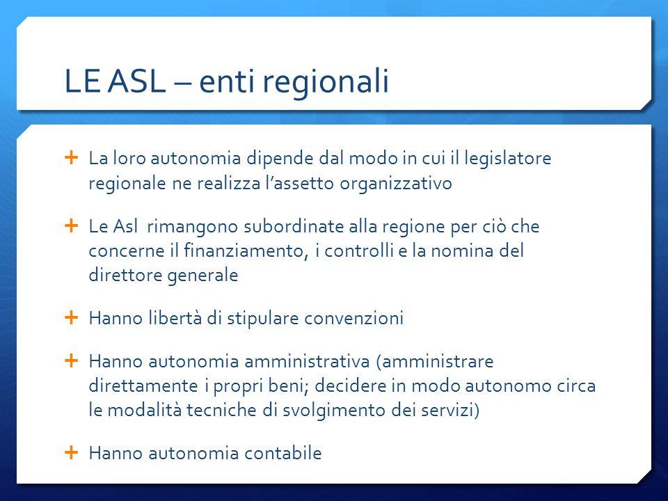 LE ASL – enti regionali  La loro autonomia dipende dal modo in cui il legislatore regionale ne realizza l'assetto organizzativo  Le Asl rimangono su