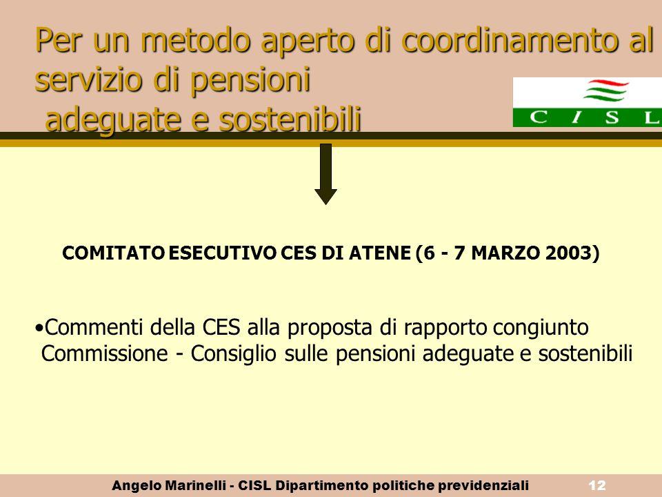 Angelo Marinelli - CISL Dipartimento politiche previdenziali11 Adeguatezza delle pensioni