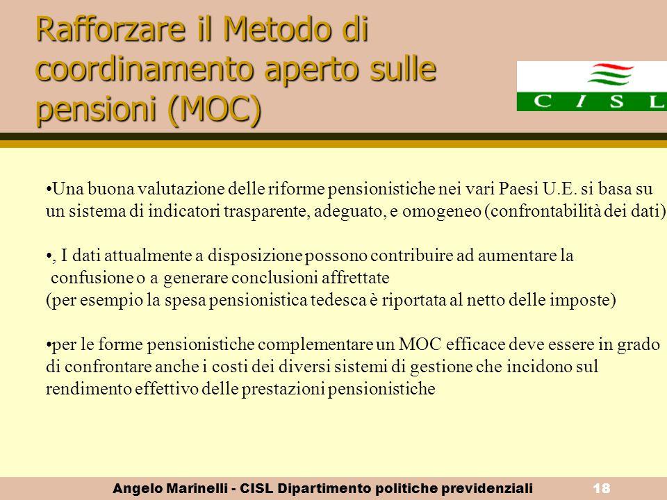 Angelo Marinelli - CISL Dipartimento politiche previdenziali17 Il prolungamento della vita attiva La CES propone di: favorire le pratiche antidiscrimi
