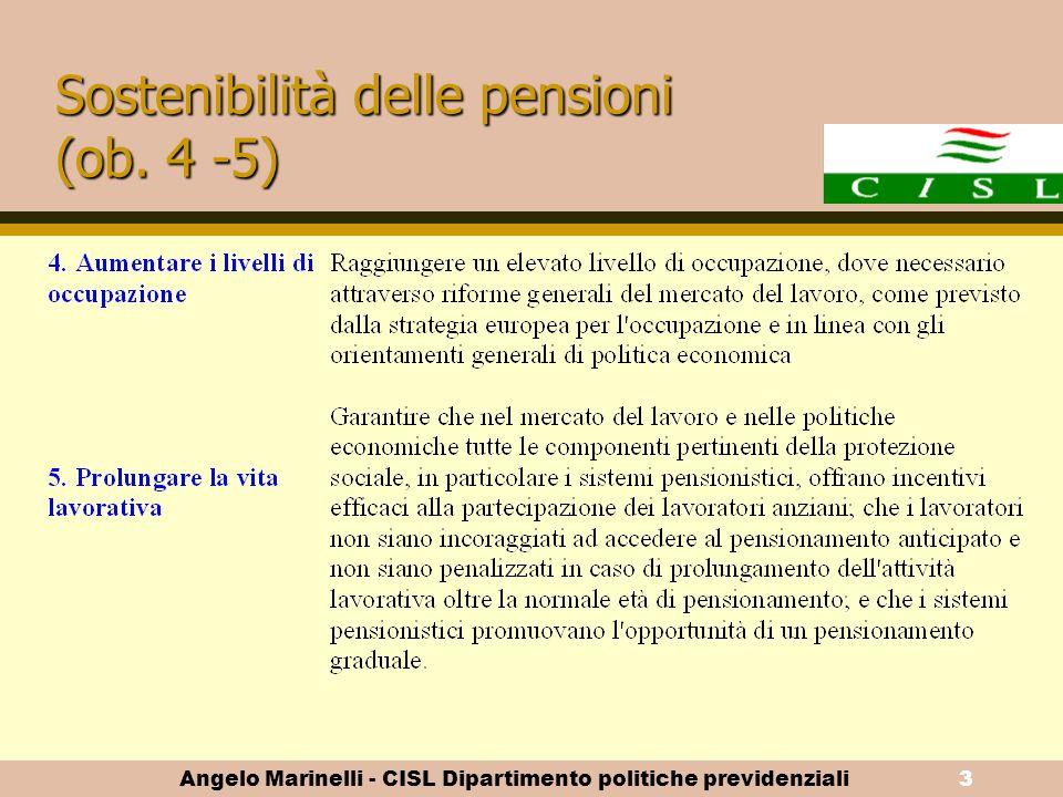 Angelo Marinelli - CISL Dipartimento politiche previdenziali2 Adeguatezza delle pensioni (ob. 1, 2, 3)