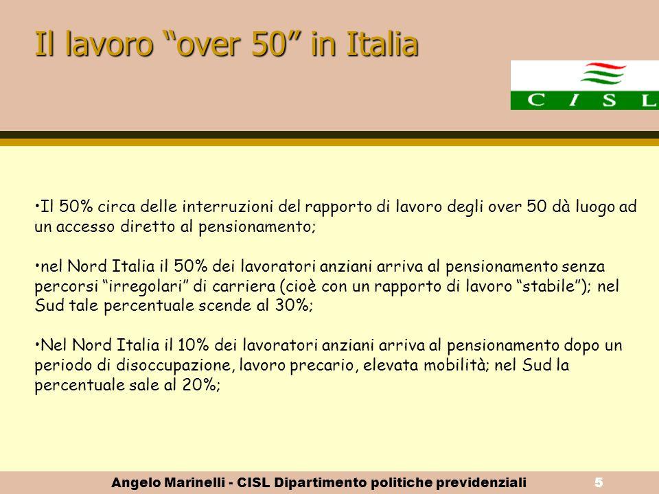 """Angelo Marinelli - CISL Dipartimento politiche previdenziali4 Il quadro di riferimento della forza lavoro """"anziana"""""""