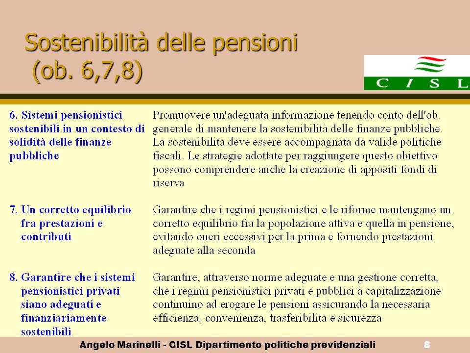 Angelo Marinelli - CISL Dipartimento politiche previdenziali7 La scelta del pensionamento dipende: - dallo stock della ricchezza previdenziale maturat