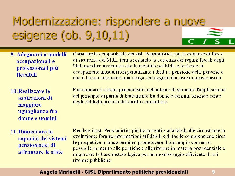 Angelo Marinelli - CISL Dipartimento politiche previdenziali8 Sostenibilità delle pensioni (ob. 6,7,8)