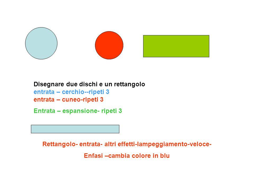 Disegnare due dischi e un rettangolo entrata – cerchio--ripeti 3 entrata – cuneo-ripeti 3 Entrata – espansione- ripeti 3 Rettangolo- entrata- altri ef
