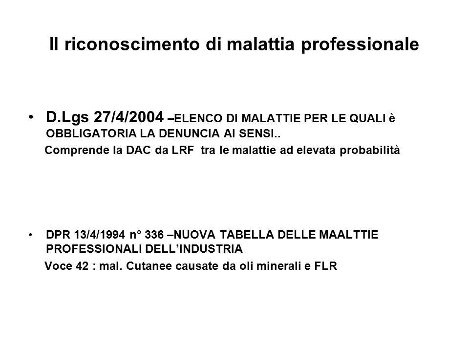 Il riconoscimento di malattia professionale D.Lgs 27/4/2004 –ELENCO DI MALATTIE PER LE QUALI è OBBLIGATORIA LA DENUNCIA AI SENSI..