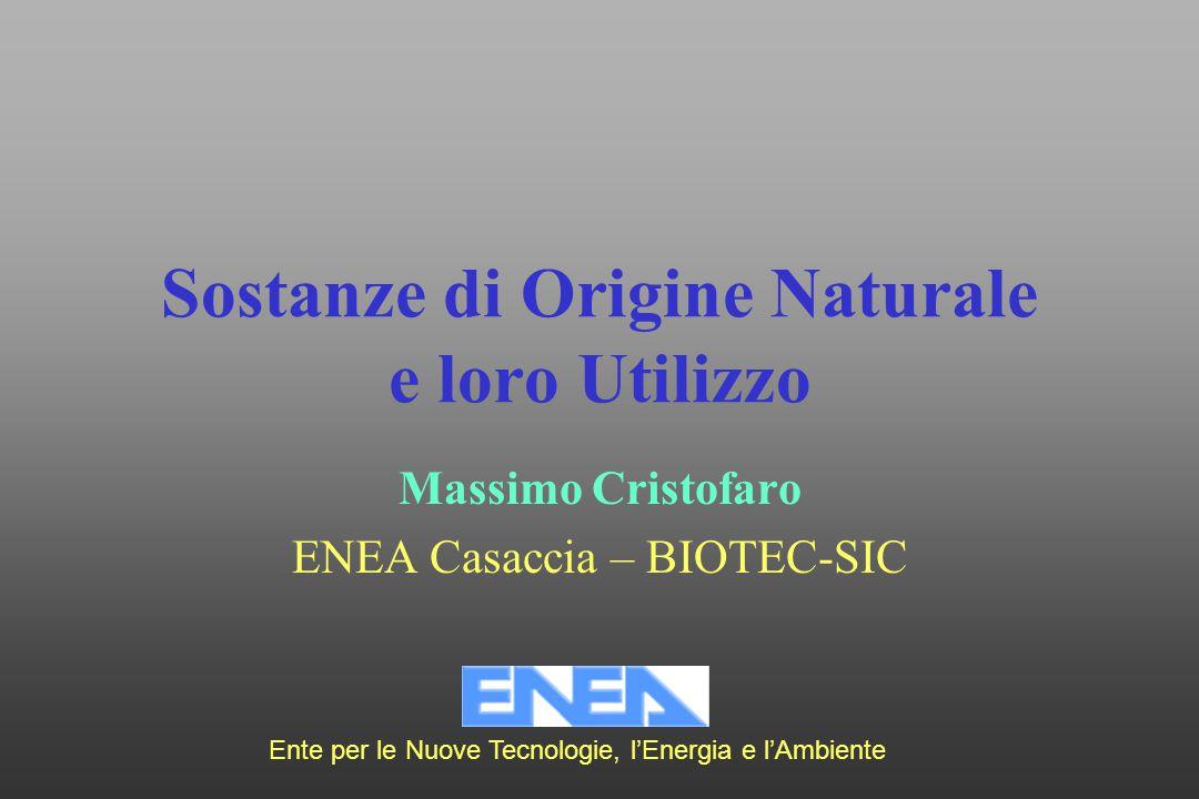Sostanze di Origine Naturale e loro Utilizzo Massimo Cristofaro ENEA Casaccia – BIOTEC-SIC Ente per le Nuove Tecnologie, l'Energia e l'Ambiente