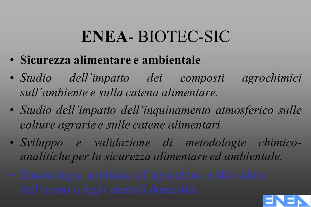 ENEA- BIOTEC-SIC Sicurezza alimentare e ambientale Studio dell'impatto dei composti agrochimici sull'ambiente e sulla catena alimentare.