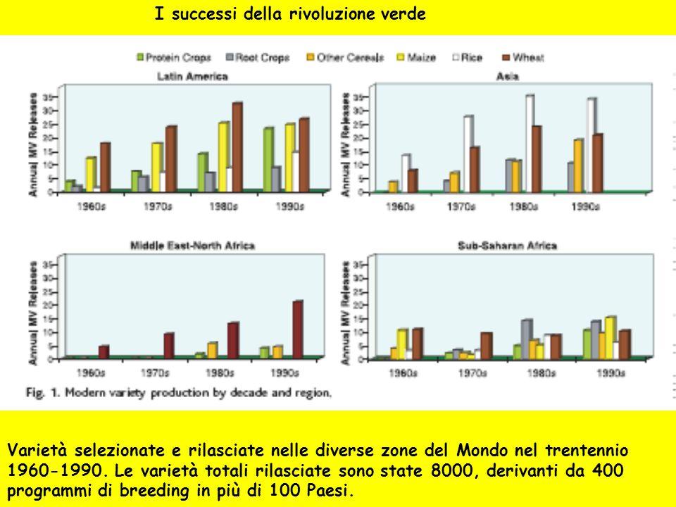 Varietà selezionate e rilasciate nelle diverse zone del Mondo nel trentennio 1960-1990. Le varietà totali rilasciate sono state 8000, derivanti da 400