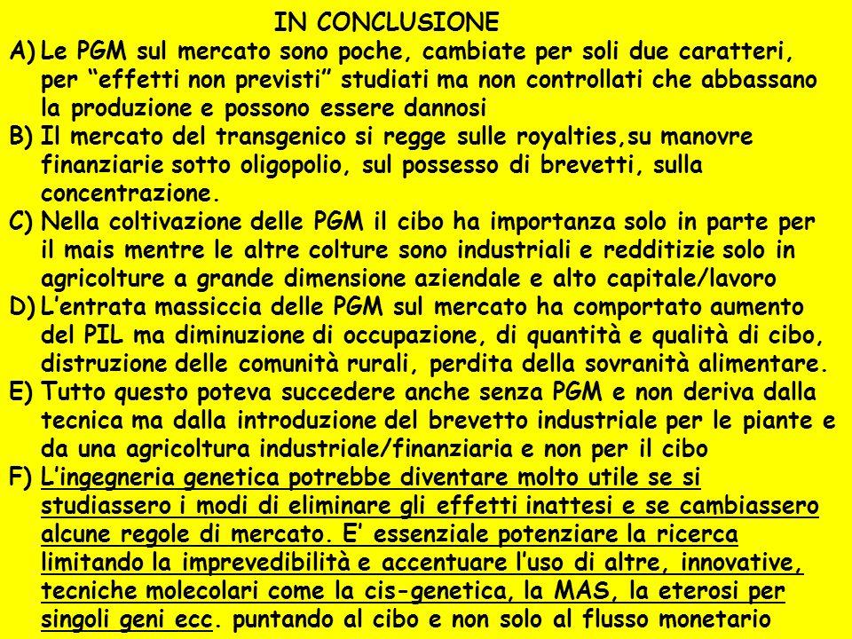"""IN CONCLUSIONE A)Le PGM sul mercato sono poche, cambiate per soli due caratteri, per """"effetti non previsti"""" studiati ma non controllati che abbassano"""
