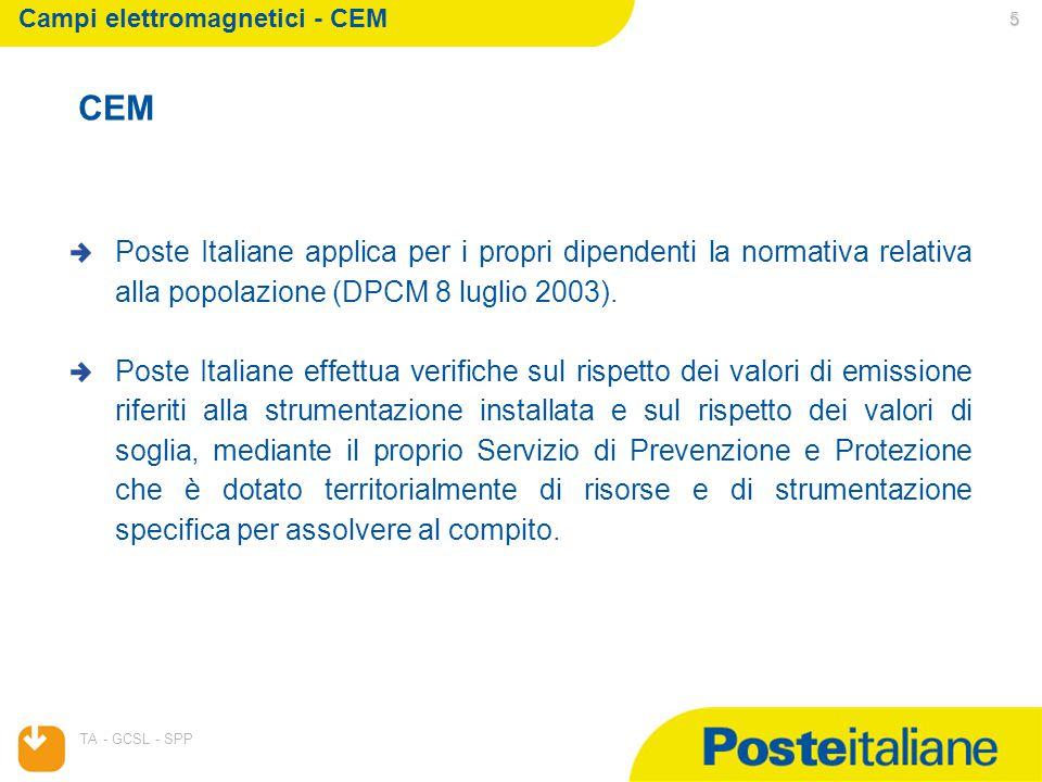 05/04/2015 TA - GCSL - SPP 5 CEM Poste Italiane applica per i propri dipendenti la normativa relativa alla popolazione (DPCM 8 luglio 2003).